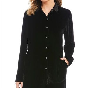 Lauren RL Velvet Button Front Tunic Top sz L